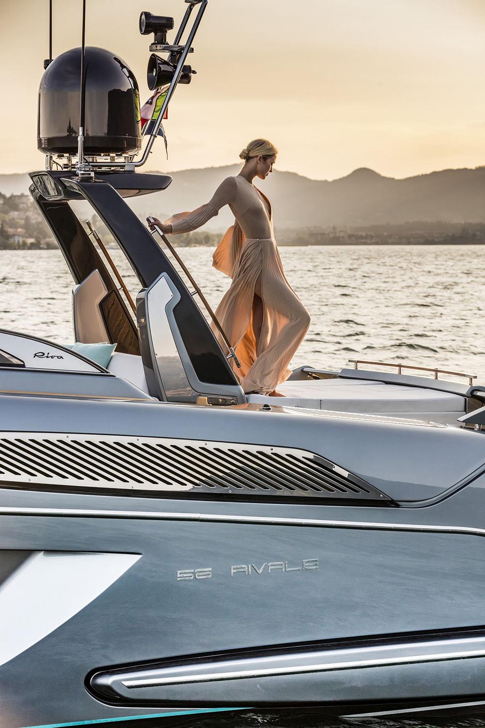 Woman aboard Riva 56' Rivale - Luxury Yacht