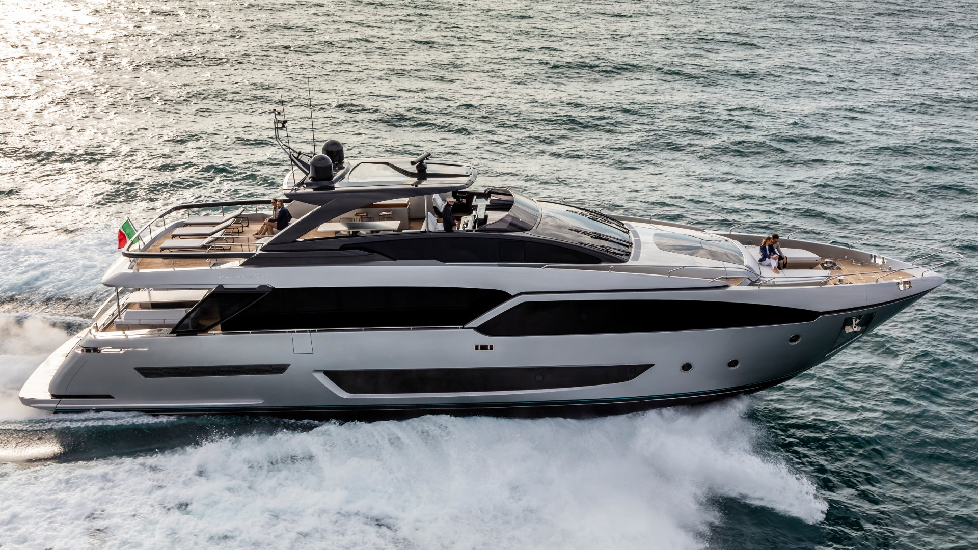 Riva 90 Argo Yacht for Sale - Profile Running Shot