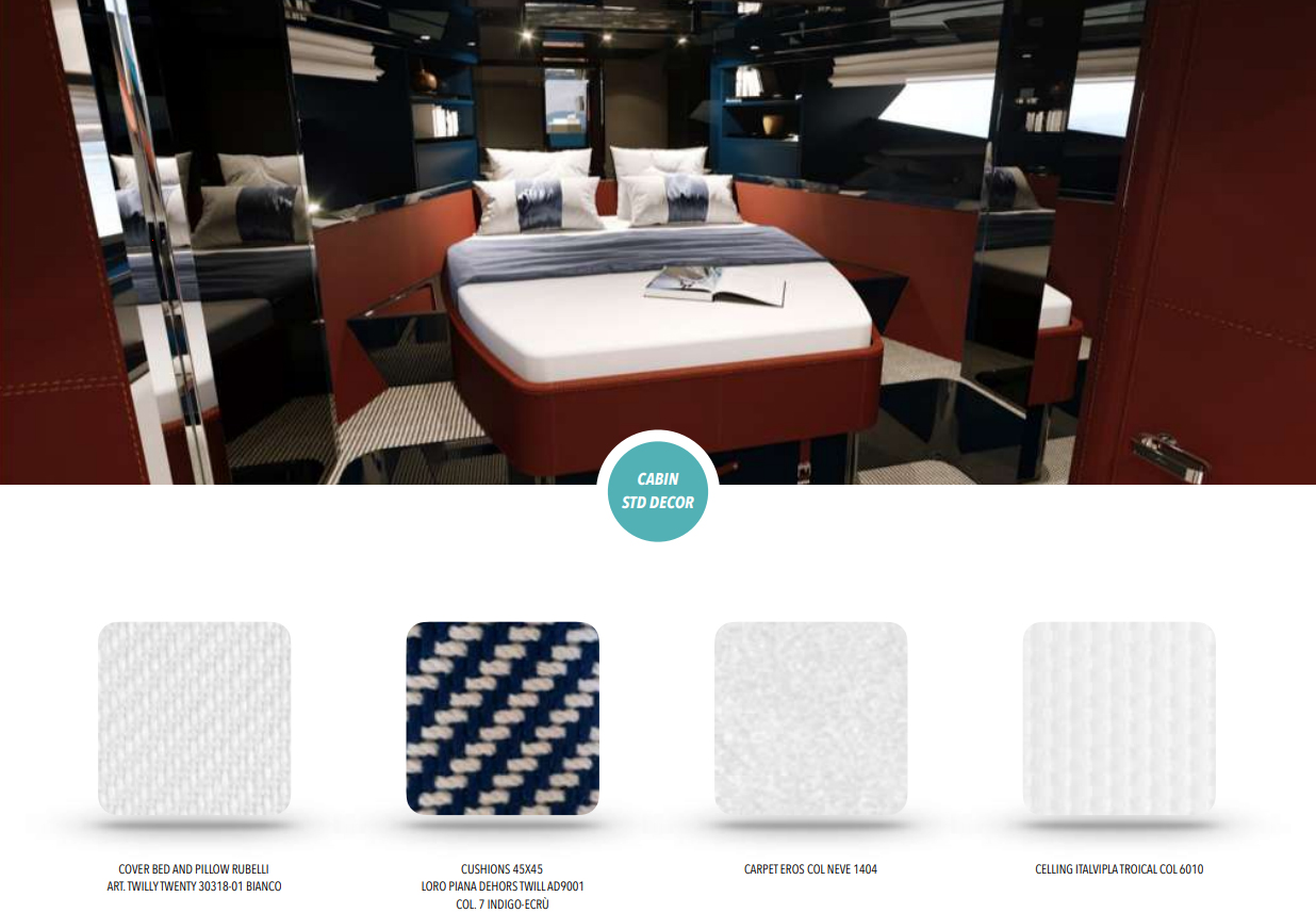 Riva Dolceriva Cabin Upholstery- Yacht for Sale