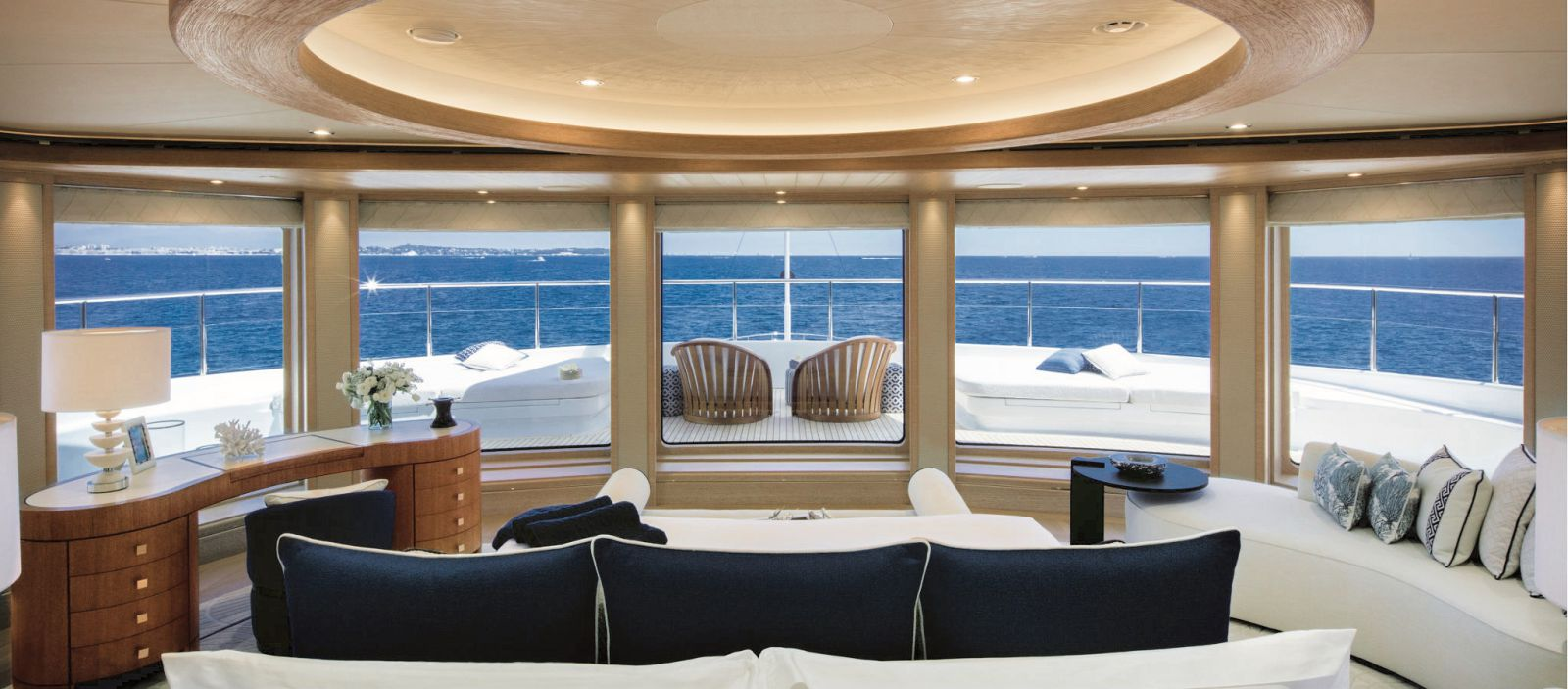 View from the master cabinb bed with 180 views of the exterior deck. >